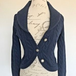 Free People Navy Blue Cable Knit Cardigan Sweater